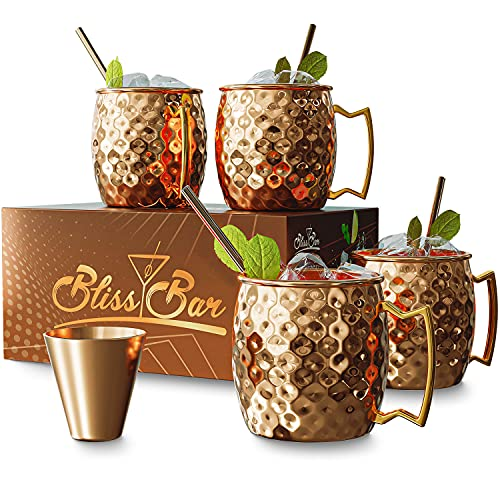 100% Pure Solid Copper Mugs – Set of Four 16oz Mule Mugs, 4 Straws, 1 Shot Glass | Conductive Copper Cools Instantly – Insulated Handle Keeps Hands Comfortable (Pure 100% Copper)
