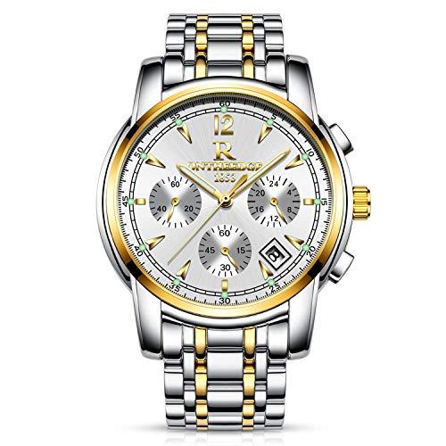 RORIOS Hombres Relojes de Pulsera Cuarzo Analógico Acero Inoxidable Business Day Calendario Cronógrafo Timer