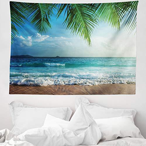 ABAKUHAUS Ozean Wandteppich & Tagesdecke, Palms Tropical Island, aus Weiches Mikrofaser Stoff Wand Dekoration Für Schlafzimmer, 150 x 110 cm, Grün & Blau