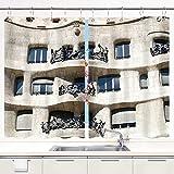 Cortina de Cocina YMWEI,Woody Architecture España Europa Barcelona Ar, Juego de Paneles de Tratamiento de Ventanas Cortinas Ganchos de Metal incluidos Juego de 2 Paneles de 55x39 Pulgadas