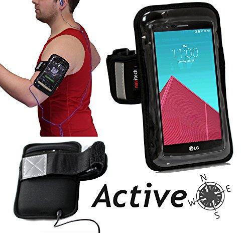 Navitech Wasser Wiederständiges Schwarz/Silbernes Neoprene Sport/Jogging/Lauf Armband mit Reflektor Streifen für das Sony Xperia Z3 Compact Smartphone