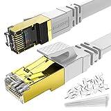 Alaser 5m CAT.8 Netzwerkkabel Flach 40 Gbits Lan Kabel Patchkabel Datenkabel CAT 8 40000 Mbits Glasfaser Geschwindigkeit S/FTP Schirmung RJ45 Stecker für Router, Modem, PC, Hub, Laptop, Gaming, Xbox