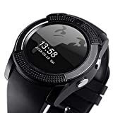 AJO V8 Sports Smartwatch Bluetooth 4.0 Message Push, Sedentary Reminder, Pedometer, Sleep Monitoring Wristband for iOS/Android Phone (Black)
