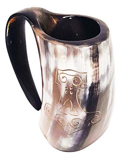 Taza pulida de la Mano de Thor grabada a mano XL: taza de 15cm (6pulg.) elaborada a mano de estilo de Juego de Tronos. Taza vikinga para utilizar como jarra de cerveza o vino de 0,8l (28on