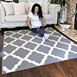 Ottomanson Glamour Collection Contemporary Moroccan Trellis Design Kids Lattice Area Rug (Non-Slip) Kitchen and Bathroom Mat Rug, 5'0' X 6'6', Grey