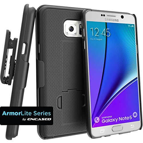 Encased Case with Belt Clip for Samsung Galaxy Note 5 Combo Case w/ClikLock Holster - Black (Samsung Galaxy Note 5)