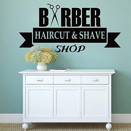 keletop Friseur Schaufenster Vinyl Aufkleber Haarschnitt und Rasiermuster Wandtattoo Schere Friseursalon Dekoration Friseur Logo 89x42cm