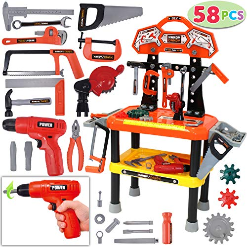 78 Pieces Kids Workbench with Realistic Tools and Electric Drill for Construction Workshop Tool Bench, STEM Educational Play, Pretend Play, Birthday Gifts and Tool Bench Building Set by JOYIN