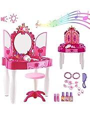 deAO Centro de Belleza Mesita Glamurosa Infantil Tocador de Maquillaje con Espejo, Taburete y Accesorios Incluidos Luces y Sonidos