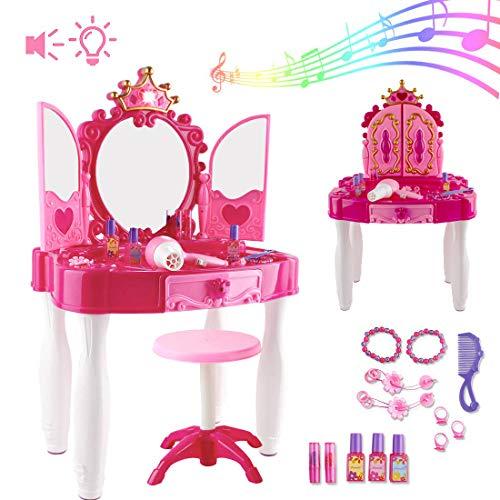 deAO Centro de Belleza Mesita Glamurosa Infantil Tocador de
