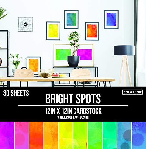 Colorbok 78lb Single-Sided Printed Cardstock 12'X12' 30/Pkg Spray Paint 10 Designs/3 Each (Packaging may vary)