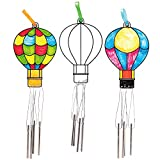 Baker Ross AT677 Hot Air Balloon Color in Wind Chime Ornaments, Suncatcher Stained Glass Effect for Children to Make and Display (Pack of 4), Assorted