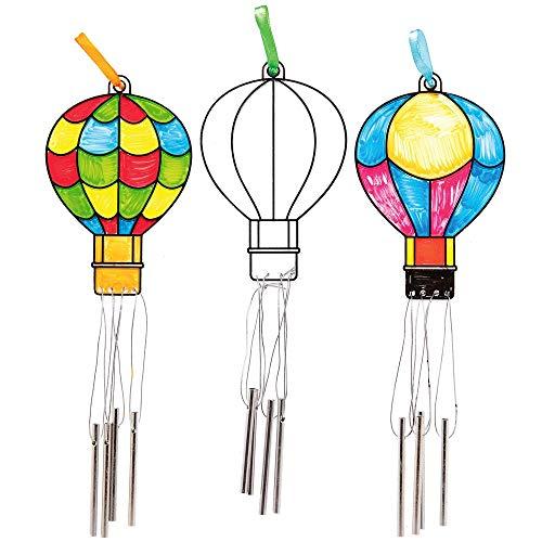 """Baker Ross Windspieldekorationen """"Heißluftballon"""" mit Buntglas-Effekt (4 Stück) – für Kinder zum Malen und Dekorieren"""