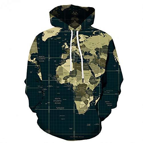 Preisvergleich Produktbild SHUAIFA Hoodie for Women Men Creative Casual 3D Print World Map Novelty Long Sleeve Sport Hooded Sweatshirt XXXXL