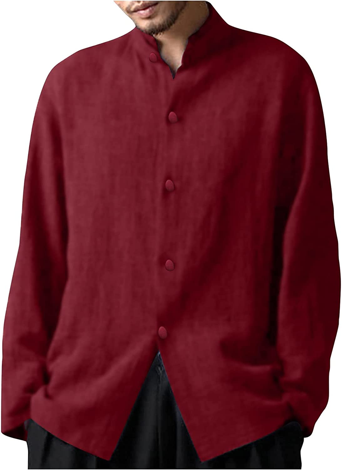 AMTF 2021 Fashion Solid Color Retro Mens Cardigan Shirt Comfortable Casual Stand-Up Collar Cotton Linen Top T-Shirt