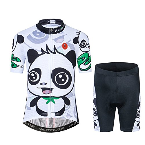 Cycling Jersey Kids,Short Sleeve Cartoon Road Mountain Bike Jersey Set/Top/Short for Girls Boys Breathable (Panda, M)