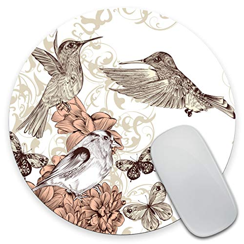 Amcove Hummingbird Round Mouse Pad, Vintage Style Artwork with Birds Butterflies Round Non-Slip Rubber Mousepad 7.9 x 7.9 x 0.12 Inch