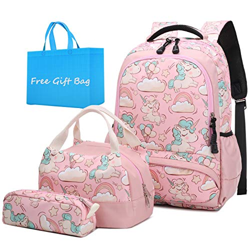 Mochila Escolar Unicornio Niña Infantil Adolescentes Sets de Mochila Backpack Casual Set con Bolsa del Almuerzo y Estuche de Lápices Rosa ⭐