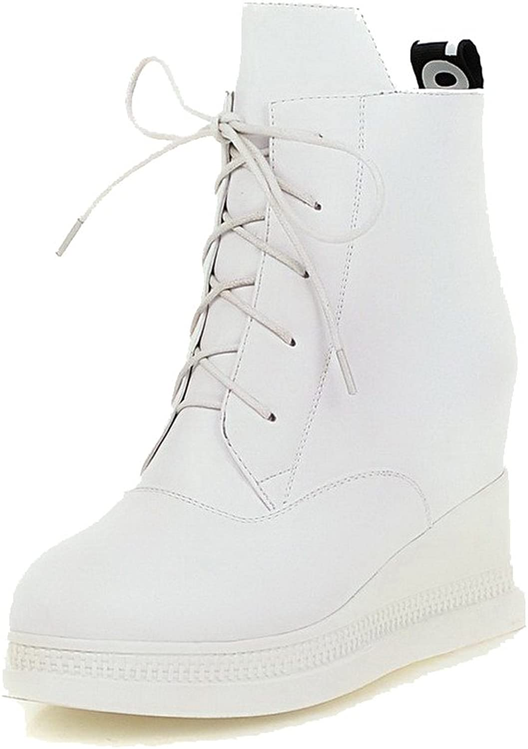 WeiPoot Women's Solid High-Heels Round Closed Toe PU Zipper Boots