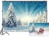 Allenjoy Snow Wonderland Pino Telón de fondo Navidad Invierno Blanco Copo de nieve Bosque Fotografía Bokeh Retrato al aire libre Decoraciones para fiestas Banner Photo Studio Props 210x150cm