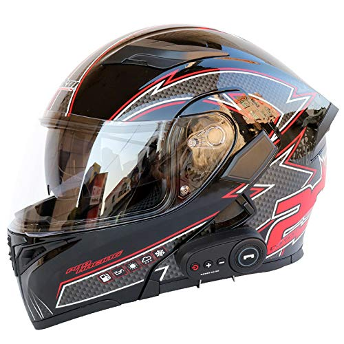 YGXS Bluetooth Helmet, Anti-Fog Double-Sided Mirror Full Face Helmet 3000 Mah Battery Good Breathability Good Sound Quality Suitable for Four Seasons,D,L