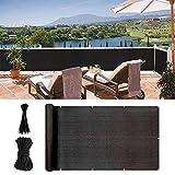 uuffoo Cubierta para balcón, protección de la privacidad de pantalla, resistente a los rayos UV del viento, con ojales, cuerdas para balcón, piscina, jardín (500 x 90 cm), color negro