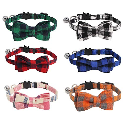 SLSON 6 Pack Cat Collars with Bell Breakaway Kitten Collars with Bowtie Plaid Collars for Pet...