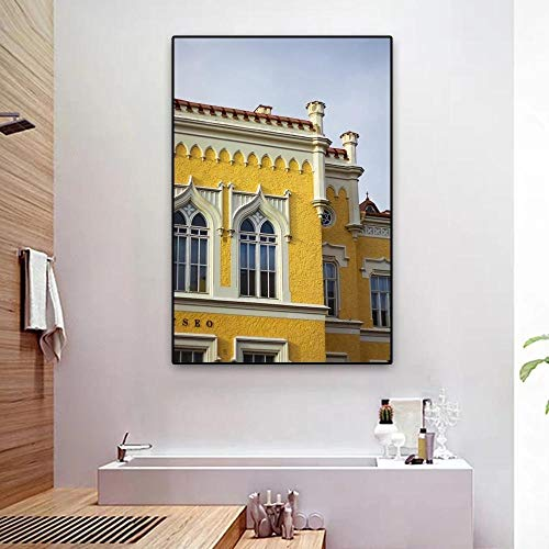 Póster de ventana de imitación de cancha de baloncesto de color amarillo base, lienzo artístico, pintura, cuadro de pared, decoración del hogar para sala de estar, dormitorio, 40x60 cm sin marco