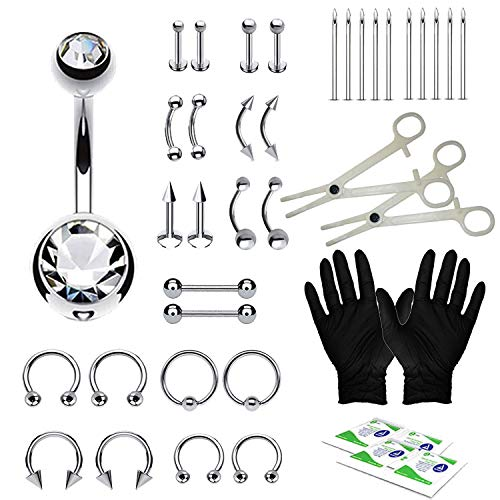 BodyJ4You 36PC PRO Piercing Kit Steel 14G 16G Belly Ring Tongue Nipple Nose Jewelry