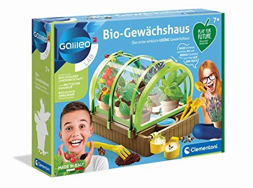 Clementoni 59237 Galileo Lab – Bio-Gewächshaus, Garten-Set aus recyceltem Material, Pflanzkasten mit Samen & Werkzeugsatz, Biologie Spiel, für Kinder ab 8 Jahren