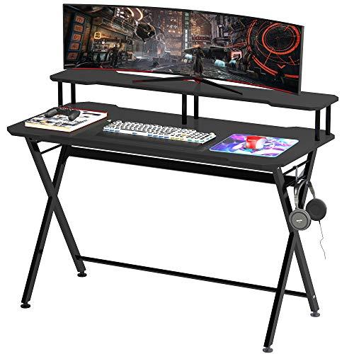 homcom Scrivania Gaming Ergonomica con Piano Rialzato per Monitor e Gancio Cuffie, in MDF e Acciaio Nero, 140 x 60 x 90cm