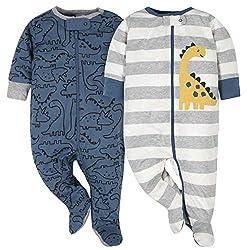1. Gerber Baby-Boys' Dinosaur 2-Pack Sleep 'N Play (Blue and Grey)
