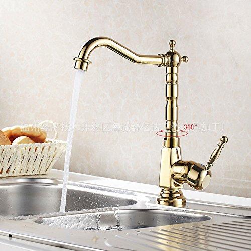 Furesnts moderne Home Küche und Bad Armatur gold Einzelne Bohrung von heißem und kaltem Wasser mischen tippen Waschbecken Armaturen Küchenarmaturen,(Standard G 3/8 Universalschlauch Ports)
