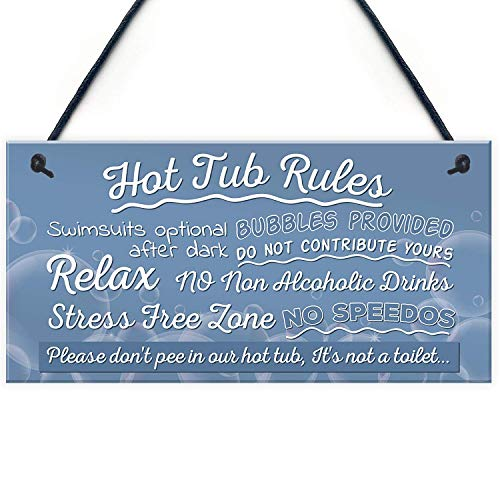 "Meijiafei Hot Tub Rules Novelty Hanging Garden Shed Plaque Pool Funny Gift Home Decor Sign 10"" X 5"""