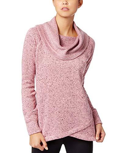 Ideology Womens Cowl Neck Fleece Pullover Sweater Pink XL