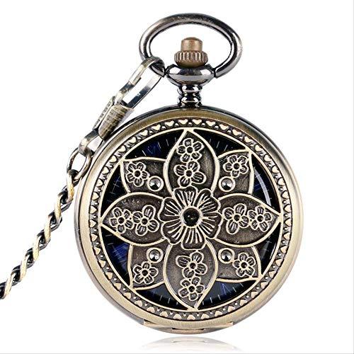 YYhkeby Bolsillo WatchVintage Lotus Flower Hueco Bronce Mecánico Reloj de Bolsillo Copos Reloj Mano Mano Reloj Moda Moda EXQUIZADOR Jialele (Color : Style 1)