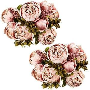 Silk Flower Arrangements Ogrmar Vintage Artificial Peony Silk Flowers Bouquet for Decoration (Cameo Brown x2)