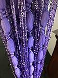 HYSENM Cortinas con cordón para puerta con bolas blandas diseño romántico con purpurina decoración para el hogar niñas dormitorio ventana puertas armarios poliéster Morado 100x200cm