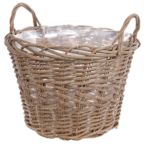 Skalny Round Willow Basket Planter with Sewn In Liner & Side Handles, 20