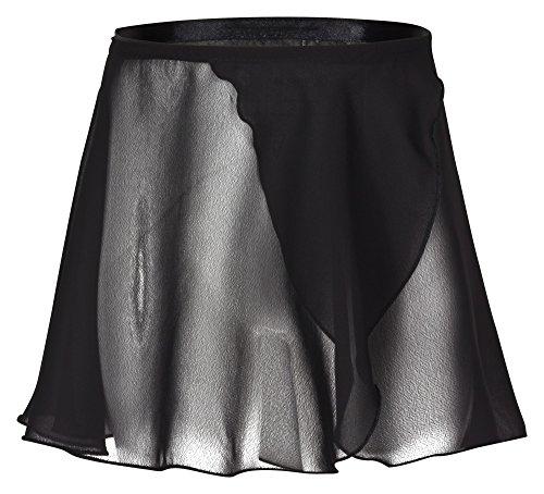 tanzmuster ® Wickelrock Mädchen Ballett - Emma - aus transparentem Chiffon - lockerluftiger Ballettrock zum Binden für Kinder in schwarz, Größe:152/158