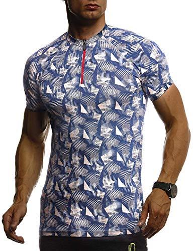 Leif Nelson Gym Herren Fitness T-Shirt Slim Fit Moderner Männer Bodybuilder Trainingsshirt Kurzarm Top Herren Sport T-Shirt - Bekleidung für Bodybuilding Training LN8325 D. Blau Medium