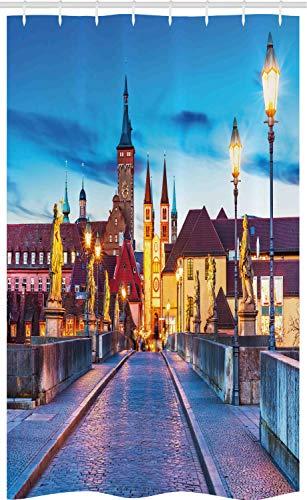 ABAKUHAUS Stedelijk Douchegordijn, Beieren Duitsland Bridge, voor Douchecabine Stoffen Badkamer Decoratie Set met Ophangringen, 120 x 180 cm, Veelkleurig