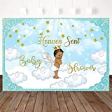 Mocsicka Heaven Sent Baby Shower Backdrop Angel Wings Prince Baby Shower Party Decorations 7X5ft Vinyl Heaven Sent Boy Baby Shower Party Banner Photography Background