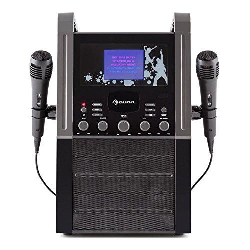 "auna KA8P-V2 BK Signature Black Edition - Reproductor de Karaoke , Altavoces Integrados , 2 micrófonos , Reproductor CD+G , AUX , Pantalla Color 3,5"" , Salida de vídeo , Negro"