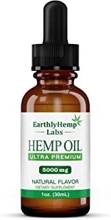 Ultra Premium Hemp Oil by EarthlyHemp Labs - 5000mg | New Product | Relieves inflammation, stress, anxiety