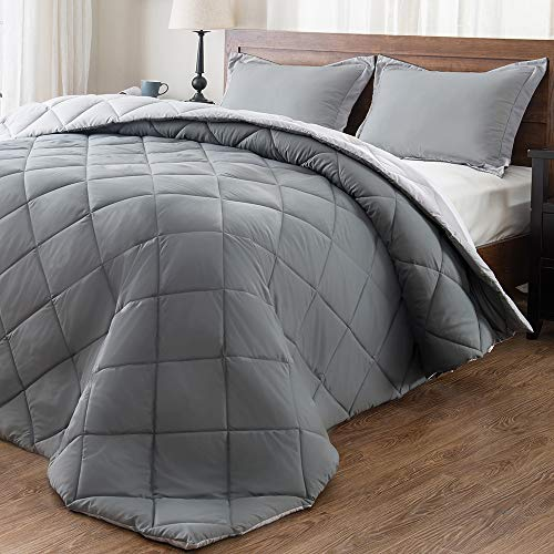 downluxe Lightweight Solid Comforter Set (Queen) with 2 Pillow Shams - 3-Piece Set - Charcol and Grey - Down Alternative Reversible Comforter