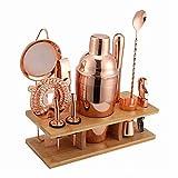 bulrusely Juego de coctelera de acero inoxidable, juego de herramientas de bar con soporte de exhibición, con soporte de madera, juego de regalo de cóctel, juego de 11 piezas