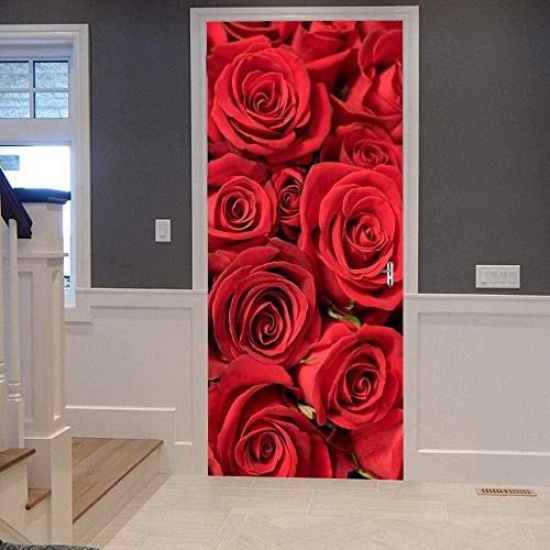 DJOIEPO 3D Türsticker Selbstklebend für Innentüren rote Rose Türaufkleber Türfolie Türtapete Abnehmbare wasserdichte Vinyl Dekoration für Wohnzimmer Schlafzimmer Haus 77 x 200cm