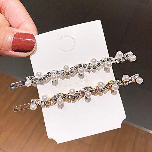 ZYJ Nouveau Femmes Élégant Cristal Perles Cintrage Barrettes Cheveux Titulaire Ornement Bandeau Cheveux Clips Épingles À Cheveux De Mode Cheveux Accessoires,2pcs
