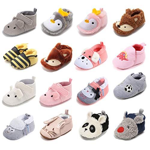 Sawimlgy Newborn Infant Baby Boys Girls Fleece Booties Soft Anti Skid Sole Slip On House Animal Slipper Crib Sock Warm Shoes for New Walkers